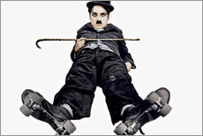 Charlie Chaplin with roller skates