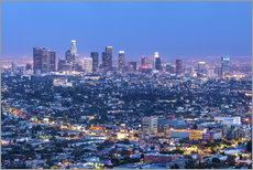 Cityscape of the Los Angeles skyline at dusk, Los Angeles, California, United States of America, Nor