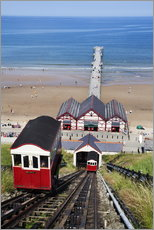Cliff Tramway and the Pier at Saltburn by the Sea, Redcar and Cleveland, North Yorkshire, Yorkshire,