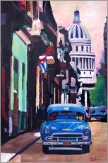 Cuban Oldtimer Street Scene in Havanna Cuba with Buena Vista Feeling
