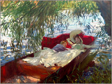 Lady and boy, in a boat under pastures