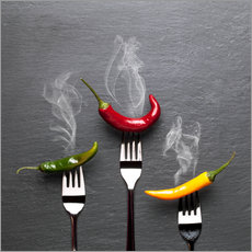 steaming colorful chili peppers