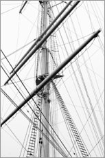 Detail view of a sailboat mast