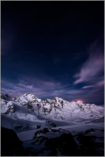 Diavolezza moonset by night, Engadin, Switzerland.