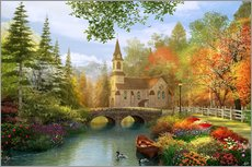 The secluded church in autumn