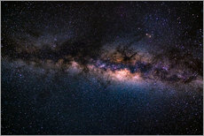 The Milky Way galaxy, details of the colorful core.