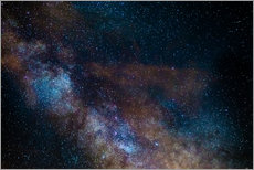The Milky Way galaxy, details of the colorful core