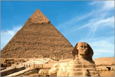 The Sphinx sits before the Great Pyramid of Khufu