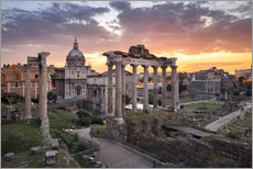Dramatic sunrise at the Roman Forum in Rome, Italy