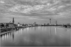 Düsseldorf skyline in the evening in black and white