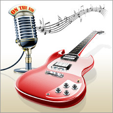 Electric guitar with microphone and music notes