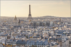 Eiffel tower and city of Paris at sunset, France