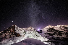 Eiger, Monch and Jungfrau mountain peaks at night