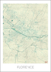 Florence, Italy Map Blue