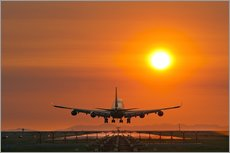 Aeroplane landing at sunset