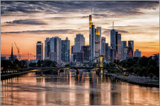 Frankfurt Skyline Sunset Skyscrapers
