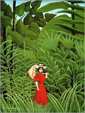 Woman in red in forest
