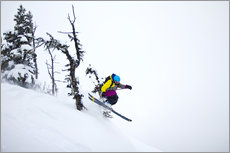 Freeride ski - Skier jumping in the backcountry