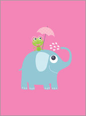 One frog and one elephant pink
