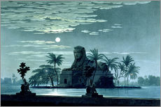 Garden scene with the Sphinx in the moonlight