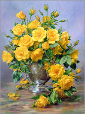 Bright Smile - Roses in a Silver Vase