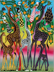 Giraffes in African colors