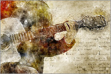 Guitar musician in abstract modern vintage look