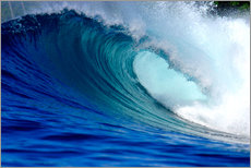 Big blue tropical island surfing wave