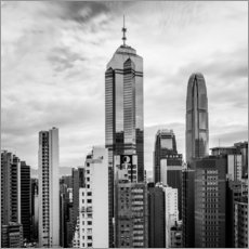 Houses Sea Hong Kong in black and white