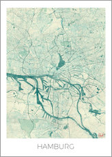 Hamburg, Germany Map Blue