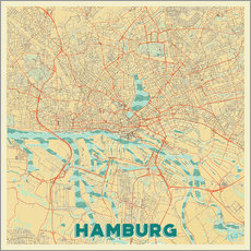 Hamburg, Germany Map Retro