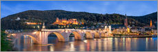 Heidelberg skyline panorama at night with castle and Old Bridge
