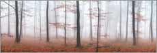 Autumn panorama with red autumn leaves in the forest