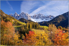 Autumnal Funes valley, South Tirol