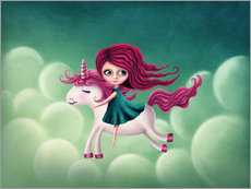 Illustration with a unicorn with a girl