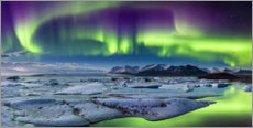 Iceland: Auroras above the glacier lagoon (panorama)
