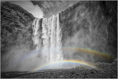 ICELAND Skogafoss with a double rainbow