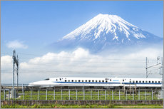 Japanese bullet train passes Mount Fuji