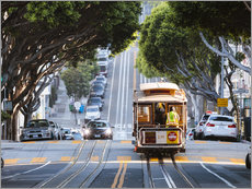 Cable tram in a street of San Francisco, California, USA