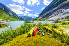 Canoes and mountain scenery