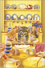 Cats cooking cake