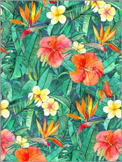 classic tropical garden watercolor pattern