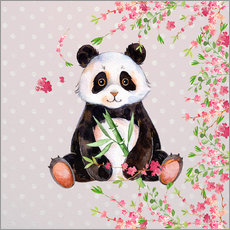 Little panda bear with bamboo and cherry blossoms