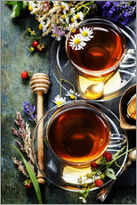 Herbal tea with honey, berry and flowers