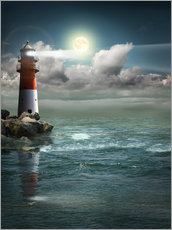 Lighthouse by moonlight