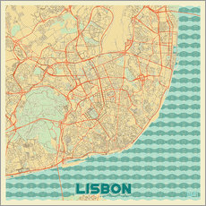 Lisbon, Portugal Map Retro