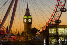 London Eye (Millennium Wheel) frames Big Ben at sunset, London, England, United Kingdom, Europe