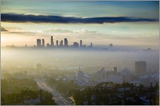 Los Angeles skyline in the morning mist
