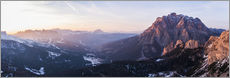 Aerial drone view over valley, Dolomites