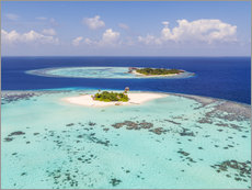 Aerial view of islands in the Maldives